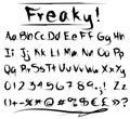 Freaky font alphabet Stock Image