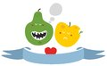 Freaky fruits and vegetables vector illustration Royalty Free Stock Photos