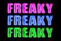 Freaky neon logo sign a saying three times in purple blue and green on a black background Stock Photography