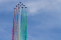 Frecce Tricolori: italian aerobatic Team drawing italian flag with color smoke Royalty Free Stock Photo