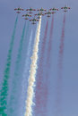 Frecce Tricolori: italian aerobatic Team drawing italian flag Royalty Free Stock Photo