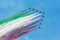 Frecce tricolori planes with italinan flag smoke Stock Image
