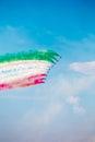 Frecce Tricolori Tricolour Arrows at Pisa Airshow, Italian National Acrobatic PAN. Royalty Free Stock Photo