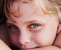 Freckled cute girl outdoors portrait of Royalty Free Stock Photography