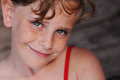 Freckled cute girl outdoors portrait of Stock Photos