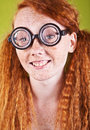 Freckled nerdy beauty Stock Images