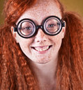Freckled nerdy beauty Stock Image