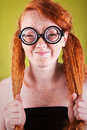 Freckled nerdy beauty Stock Photography