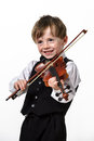 Freckled red hair boy playing violin isolated on white background Royalty Free Stock Image