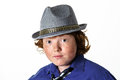 Freckled red hair boy portrait in hat teenager age Stock Images
