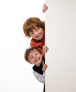 Freckled red hair brothers smiling isolated on white background Royalty Free Stock Photo