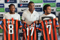 Fred fernando and wellington nem on friday july shakhtar team officially introduced six new recruits the former player of donetsk Stock Photo