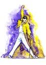 Freddie Mercury on stage Royalty Free Stock Photo