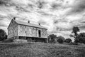 Frederick county barn b w in maryland in black white great cloud formations and sky Royalty Free Stock Photo