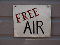 Free air a sign at the local gas station Stock Images