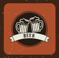 Free beers over vintage background vector illustration Royalty Free Stock Photos