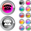 Free call multicolor round button. Stock Photography