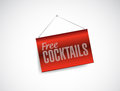 Free cocktails fabric textured hanging banner illustration design over white Royalty Free Stock Photos
