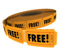 Free Complimentary Ticket Roll Enter Win Contest Raffle No Charge Royalty Free Stock Photo
