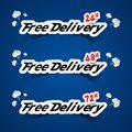 Free delivery banners creative with smoke on blue background vector illustration Royalty Free Stock Photos