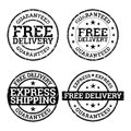 Free Delivery Black and White Stamps Stock Image