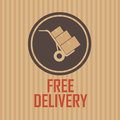 Free delivery brown label on special brown background Royalty Free Stock Image