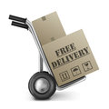 Free delivery cardboard box sack truck Royalty Free Stock Photo