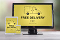 Free delivery concept on different devices Royalty Free Stock Photo