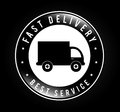 Free delivery deliery seal over black background vector illustration Royalty Free Stock Images