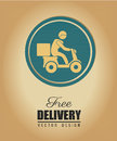 Free delivery deliver with motorcycle messenger over beige background Royalty Free Stock Photos