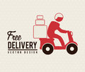 Free delivery deliver with motorcycle messenger over beige background Stock Photos