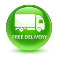 Free delivery glassy green round button Royalty Free Stock Photo