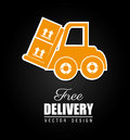 Free delivery icon over black background vector illustration Stock Image