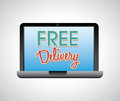 Free delivery over gray background illustration Stock Photo
