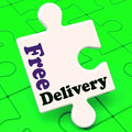 Free delivery puzzle shows no charge or gratis to deliver showing Stock Images