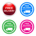 Free delivery sticker of four designs Stock Photography
