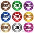 Free delivery stickers collection of in various colors specially for online shops Stock Photography