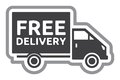 Free delivery truck - free shipping label Royalty Free Stock Photo