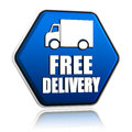 Free delivery and truck sign in blue button Royalty Free Stock Photo