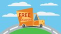 Free delivery van. Vector. Royalty Free Stock Photo