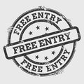 Free entry rubber stamp  on white. Royalty Free Stock Photo