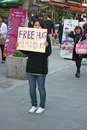 Free hug young korean girl offering hugs in seoul Stock Image