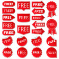 Free labels collection of red stickers Royalty Free Stock Image