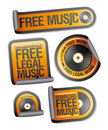 Free legal music stickers pack. Stock Photo