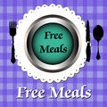 Free meals abstract colorful background with fork spoon knife and a plate with the text concept Stock Photo