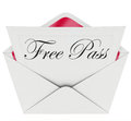 Free pass invitation card envelope open mail the words on a or in an inviting you to attend a special limited access event such as Royalty Free Stock Image