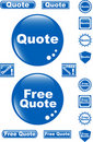 Free quote glossy button blue icon Royalty Free Stock Photo