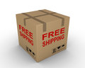 Free shipment of carton box with shipping label on it Stock Image