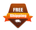 Free shipping badge brown with a white truck icon Royalty Free Stock Image