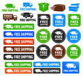 Free shipping badges a set of icons and buttons with different shapes and colors includes truck and van icons and different color Royalty Free Stock Photography